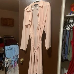 Sheer mauve duster with belt